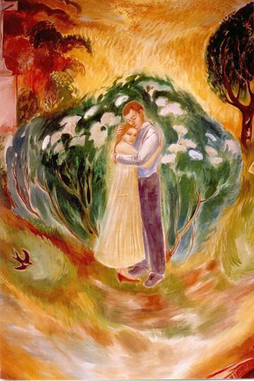 Házasságkötő terem falképe - Szerelem részlet 1